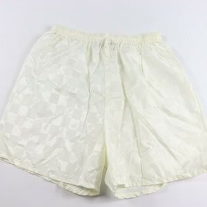 Vintage New Nylon Checkered Soccer Shorts White XL